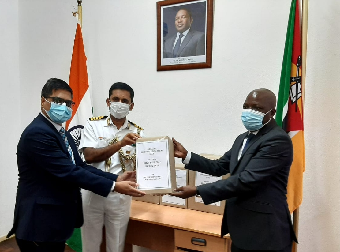 Handing over ceremony of 30 communication sets to the Defence Ministry of Mozambique