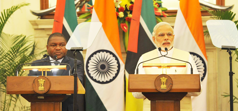 P.M. Narendra Modi & Mozambique President Filipe Jacinto Nyusi at the Joint Press Statement in New Delhi